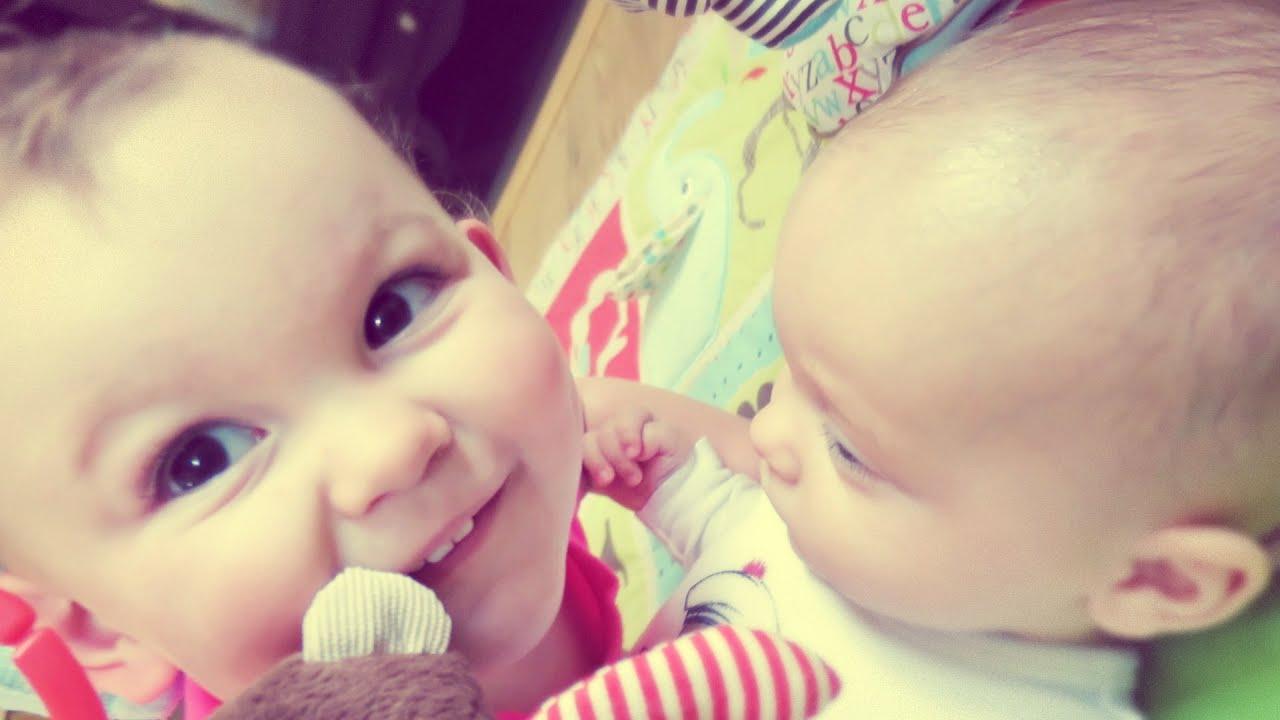 Cute Babies Kissing