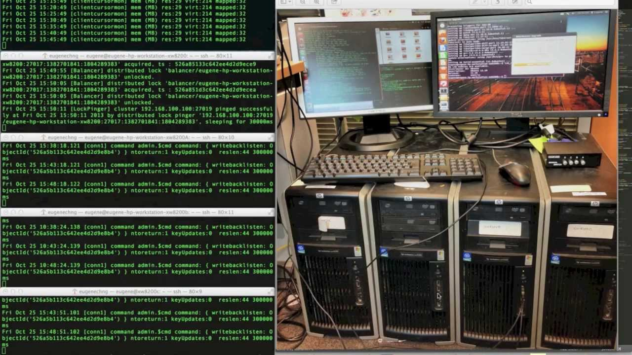 mongodb sharding test in old hp xw8200 4 node ubuntu