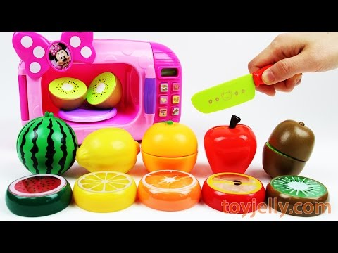 Learn Colors With Cutting Fruits And Vegetables Minnie Mouse Microwave Playset For Children