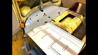 RUSTY'S GEAR BOX REMOVED & FLOOR METAL FIT! CLASSIC VW RESTORATION! VOLKSWAGEN! VW BUS, VW KOMBI, VW