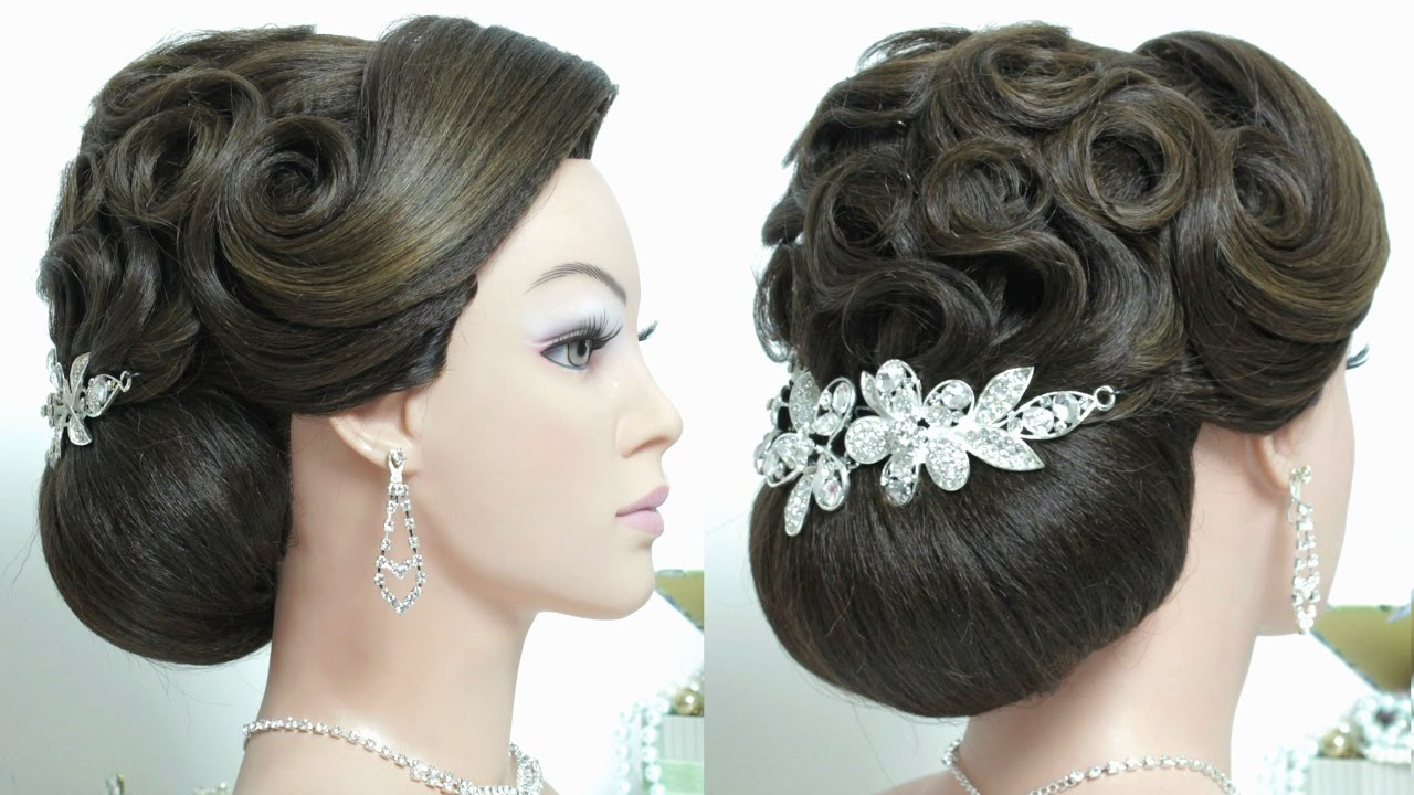 Wedding  updo  Bridal  hairstyle  for long hair  tutorial