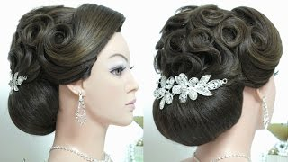 Bridal updo. Wedding prom hairstyle for long hair tutorial