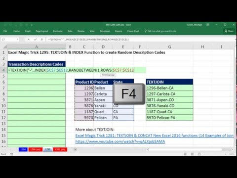 Excel Magic Trick 1295: TEXTJOIN & INDEX Function to create Random Description Codes