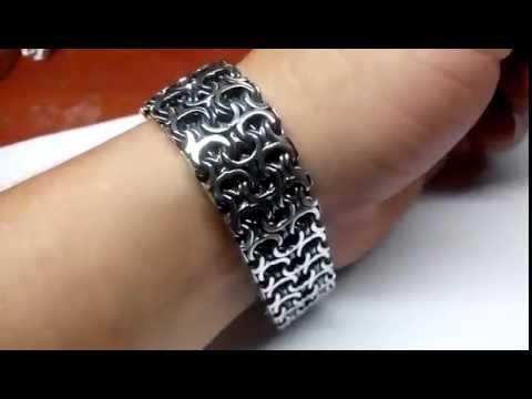 Женский серебряный браслет ручной работы. Сканный браслет. Ювелирные украшения