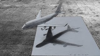 BOEING 747 AIRPLANE ILLUSION - How to Draw Airplane - 3D Trick Art