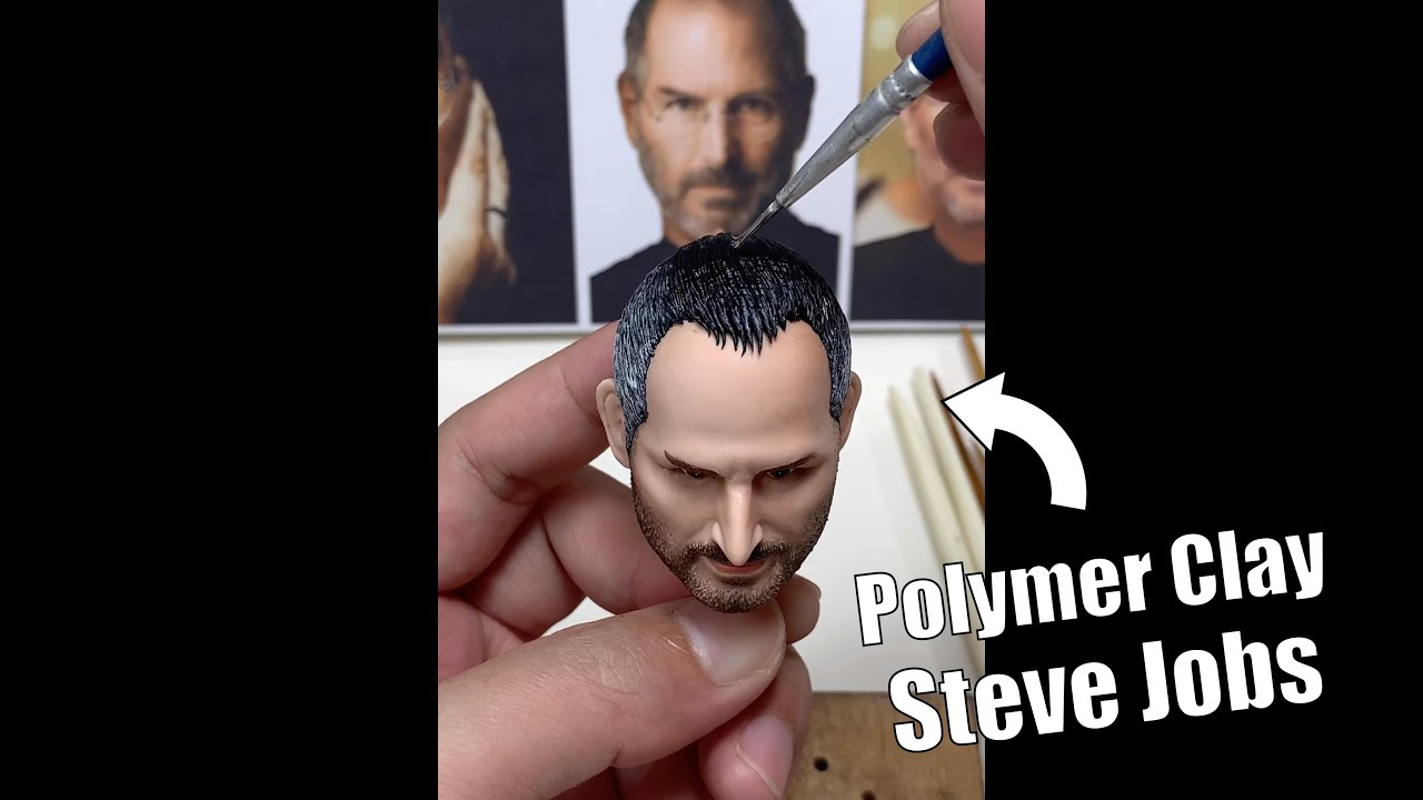 Steve Jobs bust made from polymer clay, sculpture timelapse【Clay Artisan JAY】#Shorts