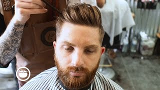Textured Pomp With Side Part and Maintenance Beard Trim