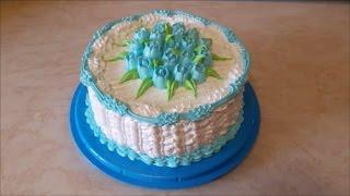 Вкусный,красивый торт БАНАНОВОЕ ЧУДО рецепт торта Украшаем торт кремом Cake decoration