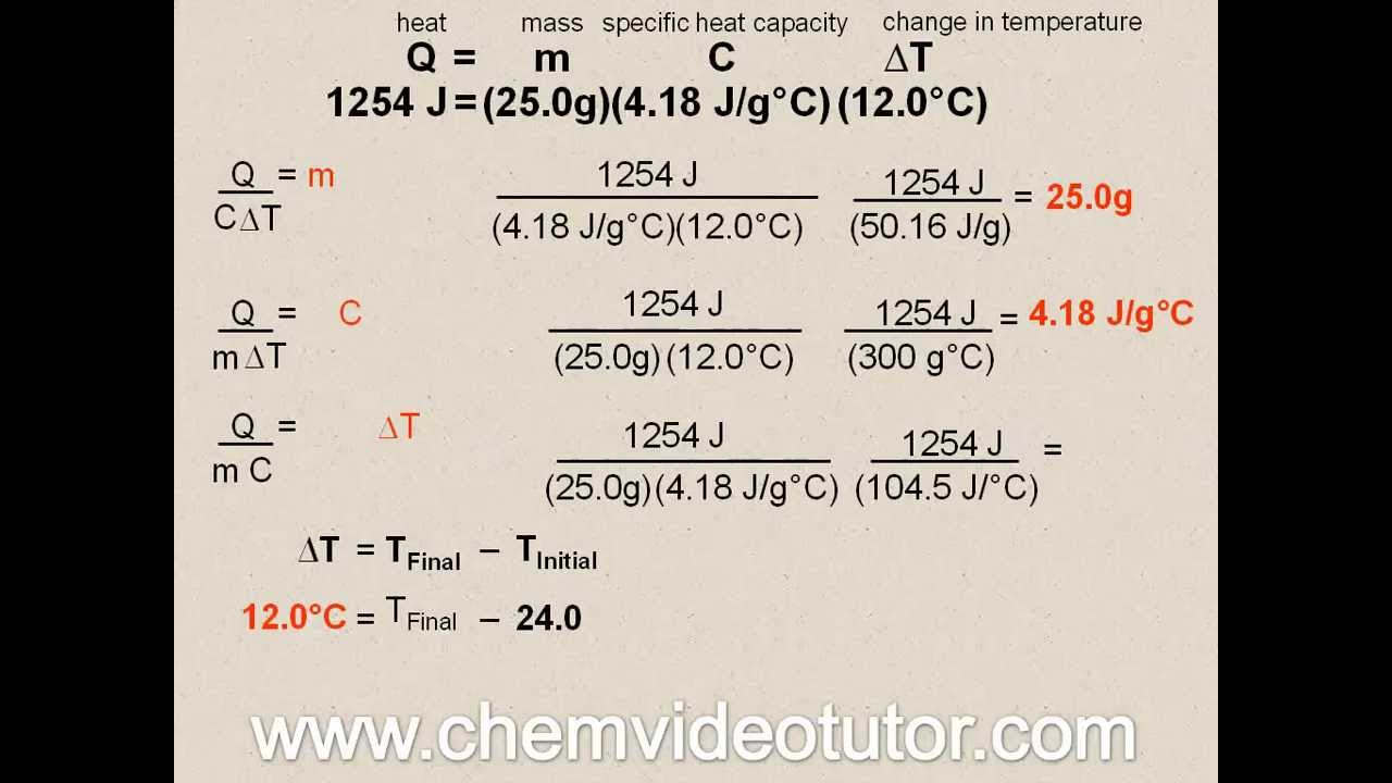 Chemistry Regents: Advanced Heat Calculations using Q=mCΔT - YouTube