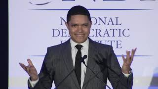 Trevor Noah accepts the Leadership in Democracy award at the NDI 2019 Democracy Gala