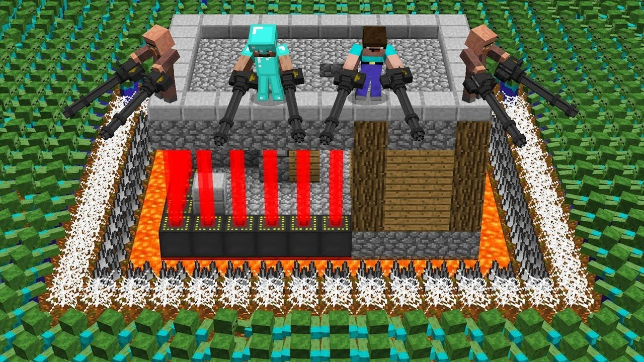 1000 ZOMBIE ARMY vs VILLAGE HOUSE! BATTLE HOUSE PROTECT! in Minecraft Noob vs Pro
