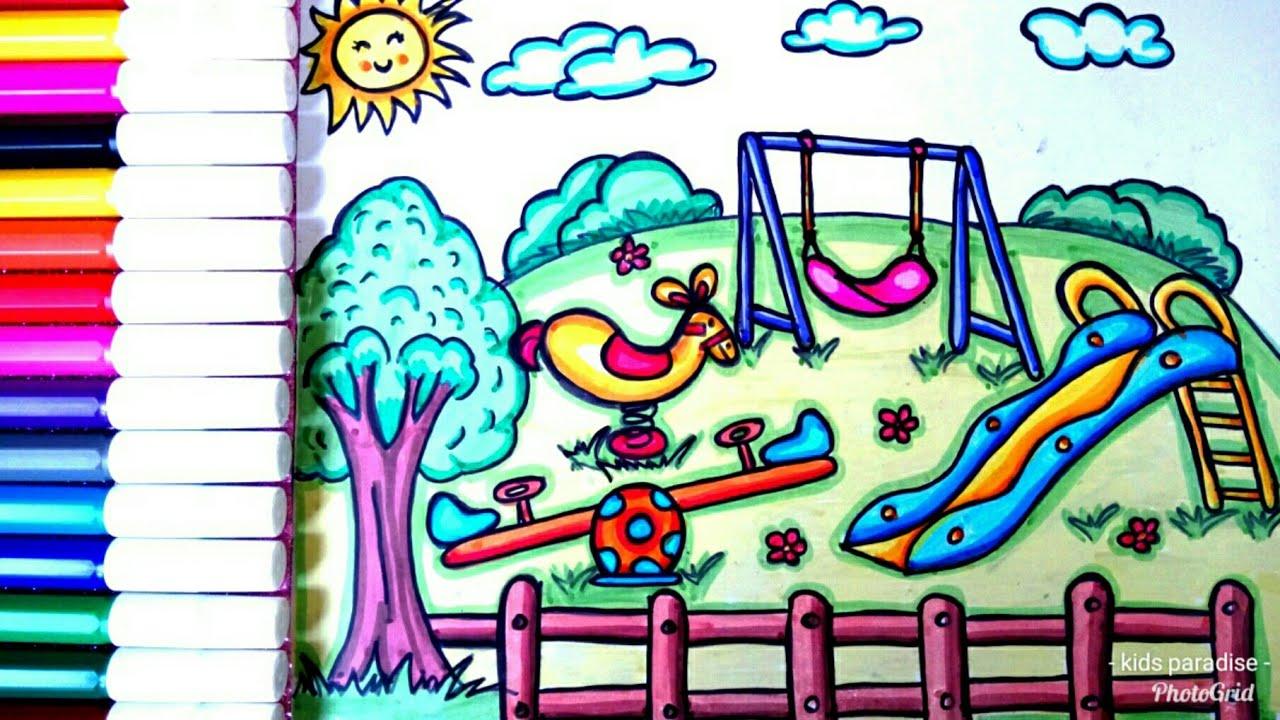 رسم حديقة وألعاب مراجيح وتلوينها للأطفال والمبتدئين بسهولة جدا خطوة بخطوة تعليم رسم حديقة العاب Youtube