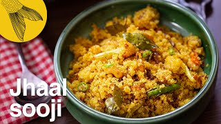 Jhal suji-savoury semolina with seasonal vegetables-Bengali tiffin or breakfast recipe