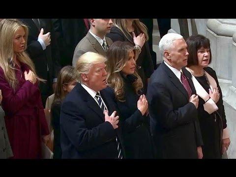 President Donald Trump attends National Prayer Service. Jan 21. 2017