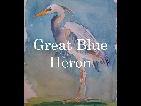 How to Paint a Bird in Watercolour Watercolor Great Blue Heron Tutorial  (Sound Problems)