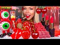 ASMR *RED FOOD* CANDIED FRUIT, CHERRY, STRAWBERRY, EDIBLE LIPSTICK, GLASS JELLY NOODLES, MUKBANG 먹방
