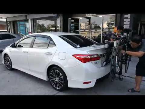 Toyota Altis ติดตั้ง แร็คจักรยานเกี่ยวฝากระโปรงท้ายรถ แร็ครถเก๋ง thule raceway 991