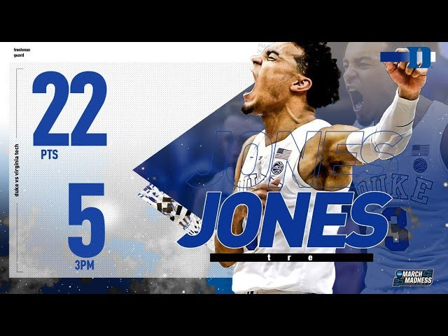 Dukes Tre Jones: 22 points in Sweet 16 victory over Virginia Tech