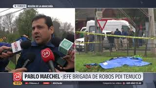 Violento asalto en Temuco termina con un delincuente muerto y camioneta robada en un canal