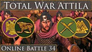 Total War Attila Online Battle Video 34 Celt-Rome vs Saxon-Suebi