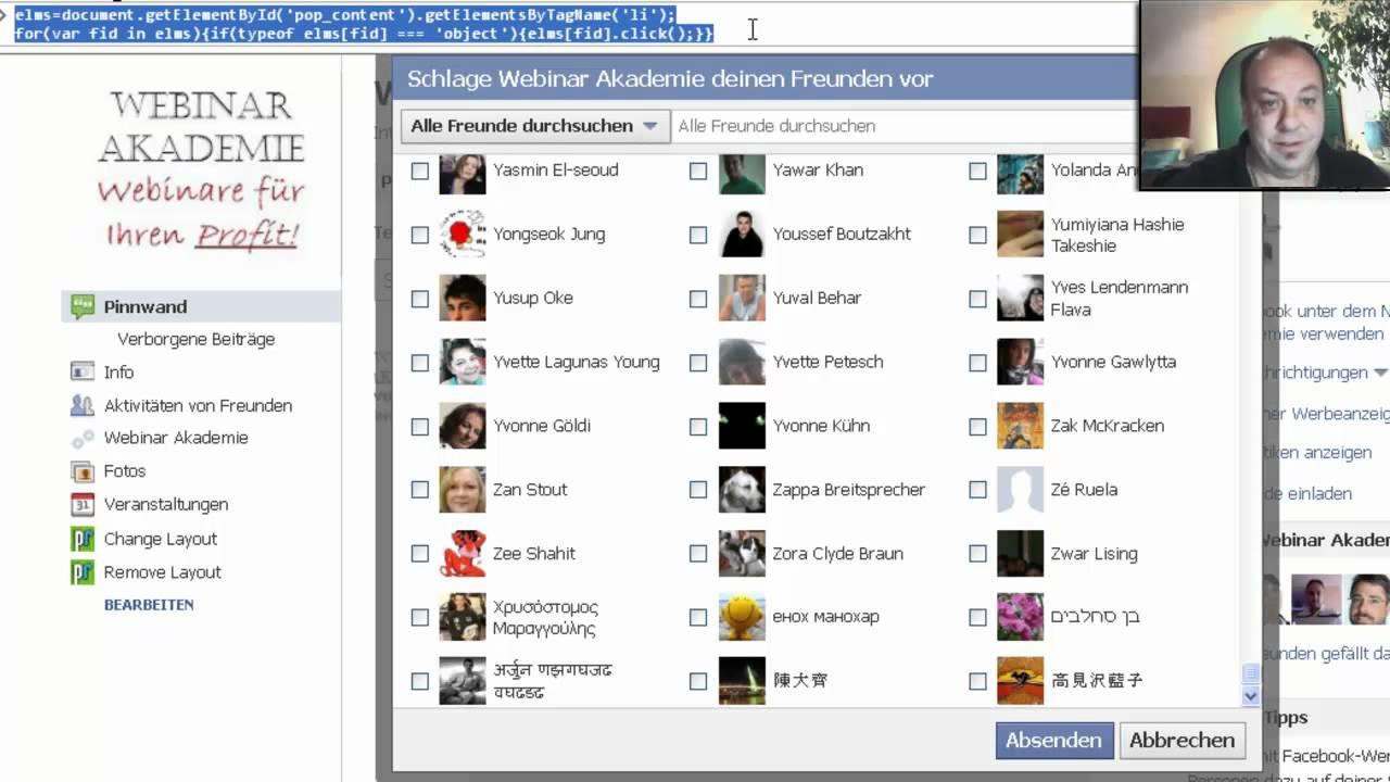 alle facebook freunde einladen auf die fanpage, gruppe oder, Einladung
