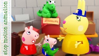 Mr Dinosaur and Mrs Detective Peppa Pig tv toys stop motion animation