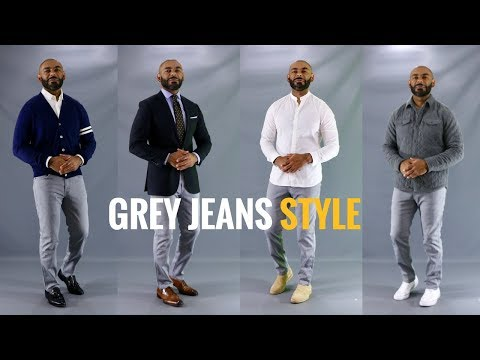 How To Style Men's Grey Jeans/How To Wear Men's Grey Jeans