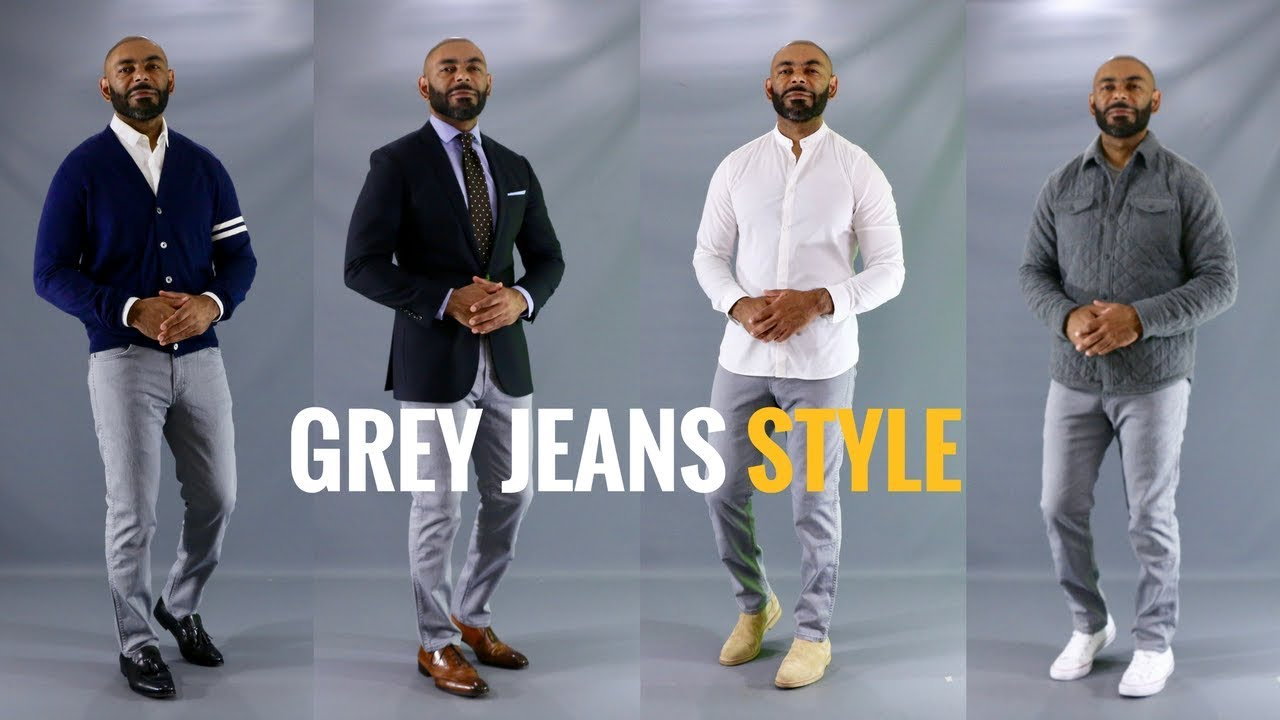 How To Style Men\'s Grey Jeans/How To Wear Men\'s Grey Jeans