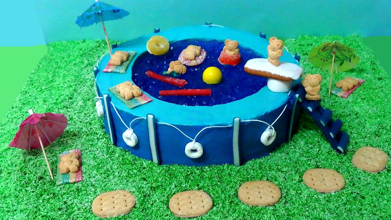 How To Make Swimming Pool Party Cake Youtube