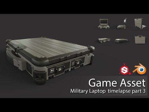 Game Asset: Military Laptop. Blender & Painter (Timelaps part 3)