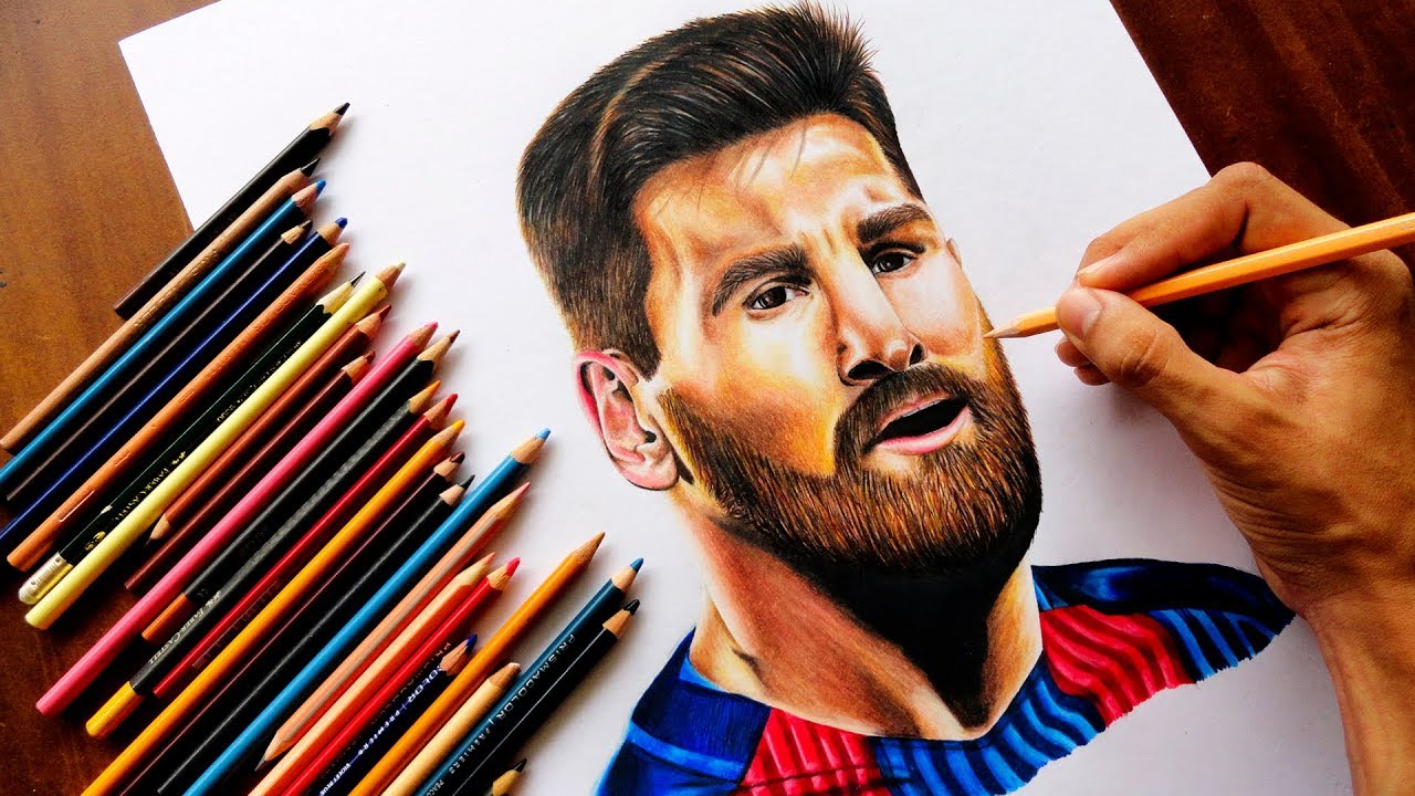 Como Dibujo A Lionel Messi Speed Drawing Fc Barcelona Youtube