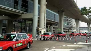 Airport taxis line up at Hong Kong's Chek Lap Kok airport