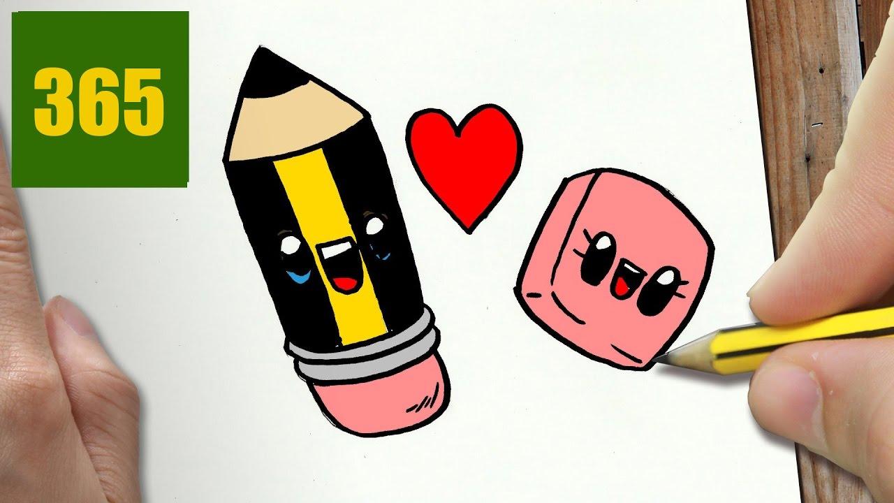 Comment Dessiner Crayon Et Caoutchouc Kawaii Etape Par Etape Dessins Kawaii Facile Youtube