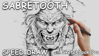 Speed Draw of Sabretooth using Sketchbook Pro and the Mirror tool
