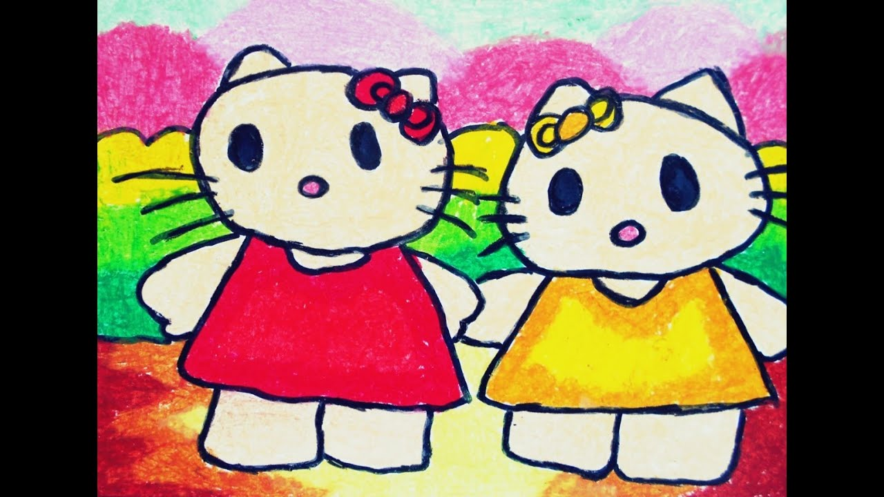 how to draw and colour hello kitty for kindergartens and kids - Drawing And Colouring