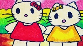 How To Draw And Colour Hello Kitty For Kindergartens And Kids Tomclip