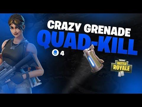 Crazy GRENADE QUAD-KILL in FORTNITE! (Fortnite Funny Moments &  Plays)