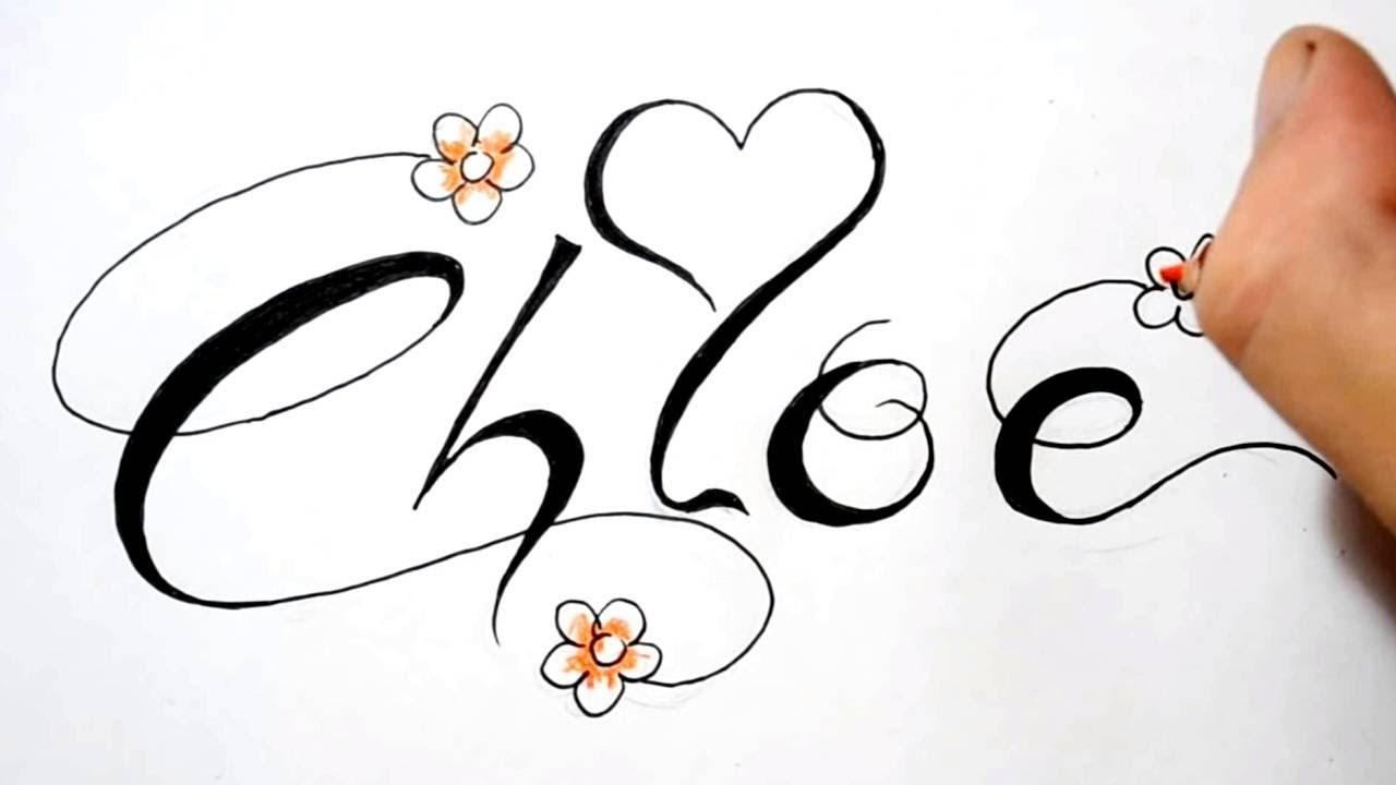 Name Tattoo Designs Fancy Script Design Chloe Sketch 2 Youtube