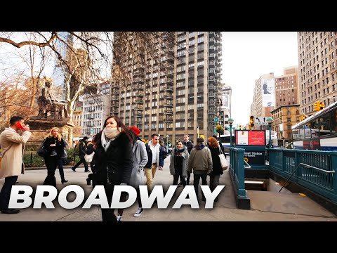 ⁴ᴷ Walking Tour of Manhattan, NYC (April 2018) - Broadway from Times Square to South Ferry