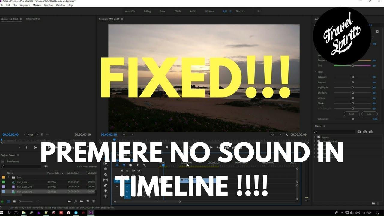 NO SOUND In Premiere CC 2018 - Fixed QUICKLY - Thanks GOD - premiere not  importing audio
