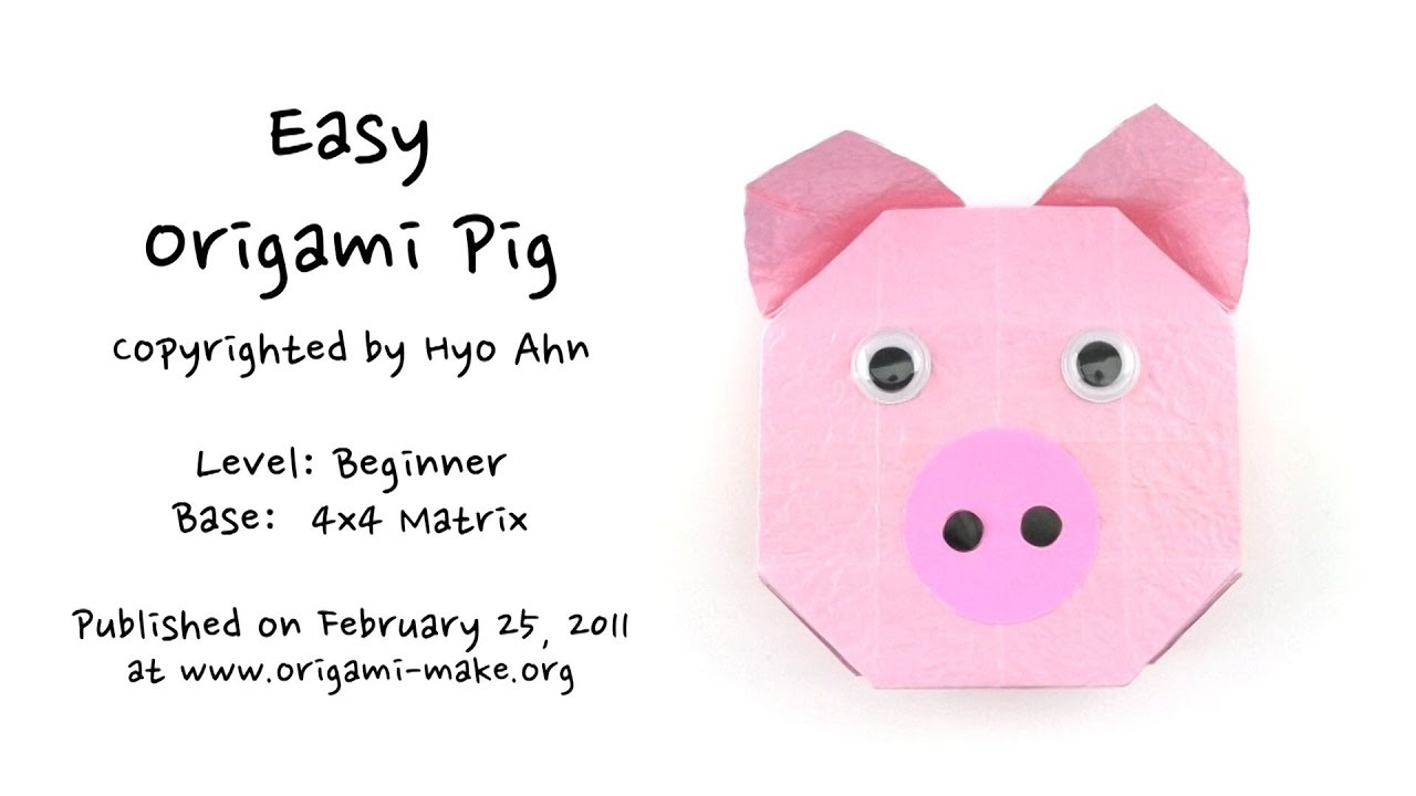 Introducing an Easy Origami Pig - YouTube - photo#10