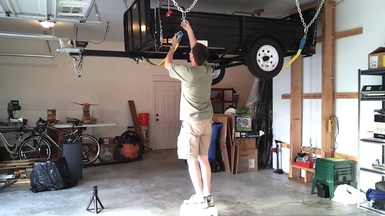 Hang My Utility Trailer From The Garage Ceiling Youtube