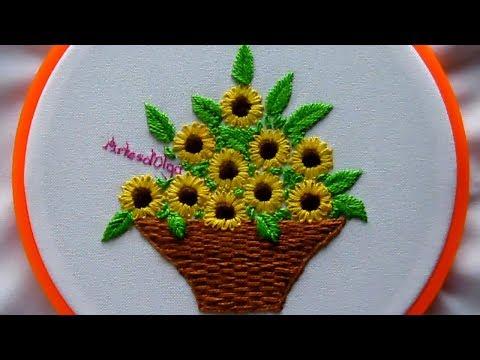 Hand Embroidery: Sunflower Basket  Bordados a mano: Cesta de Girasoles  ArtesdOlga