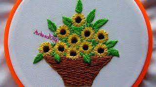 Hand Embroidery: Sunflower Basket   Bordados a mano: Cesta de Girasoles   Artesd'Olga