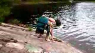 Emily diving into Smoky Lake