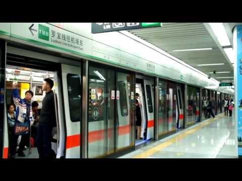 深圳地鐵羅寶線 南車株洲列車 129 往機場東方向到達及離開購物公園站 Luobao Line