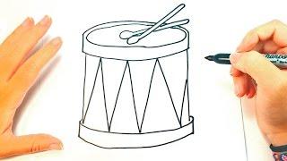 Cómo dibujar un Tambor para niños | Dibujo de Tambor paso a paso