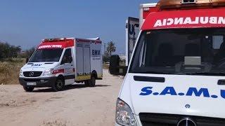 Simulacro de Emergencia con Bomberos y Ambulancias Ayuda S.L.. Alicante.