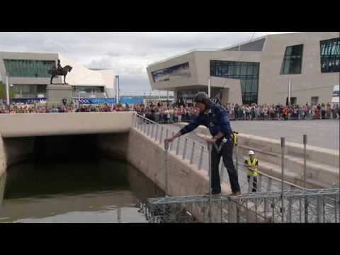 James May crossing his Meccano Bridge