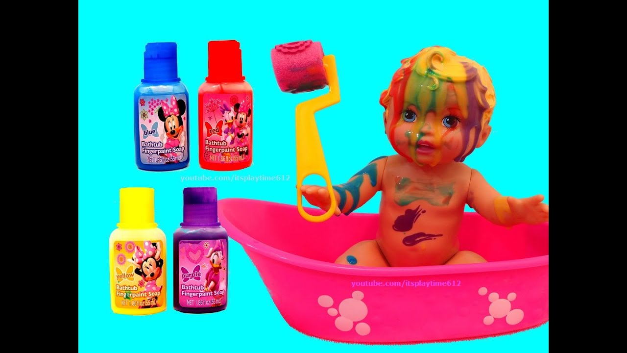 Little Mommy Bubbly Bath Time With Minnie Bath Paint